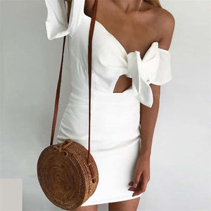 Sexy Off Shoulder Solid Color Strappy Bodycon Dress