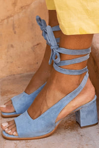 Plain Chunky Mid Heeled Peep Toe Dress Sandals