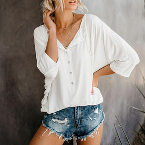 Casual Batwing Sleeve Loose Pleated Single-Breasted T-Shirt