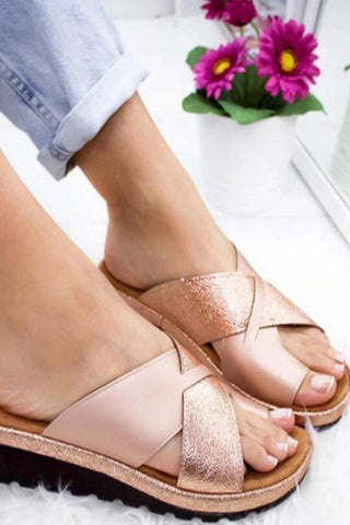 Casual Date Travel Plain  Peep Toe   Wedge Sandals