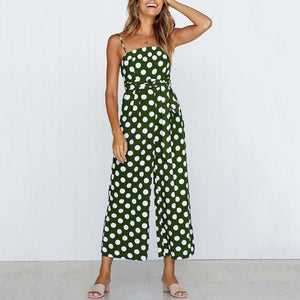 Sleeveless Polka Dot Sling Lace-Up Jumpsuit