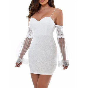 Sexy Suspender Lace Splicing Mini Bodycon Dresses