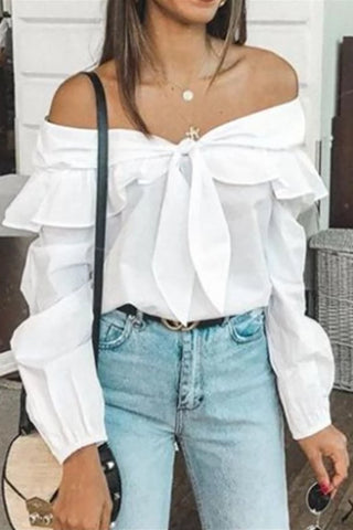 Sweet Off-Shoulder Long Sleeve Splicing Bowknot Blouse
