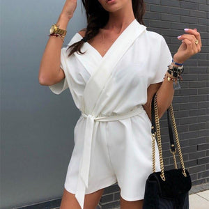 Fashion V Collar Short Sleeves Pure Color Jumpsuits