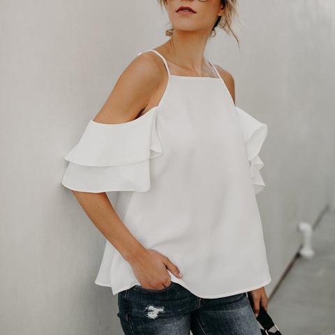 Off-The-Shoulder Ruffled Sleeve Sexy Chiffon Shirt