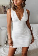 V Neck Sleeveless Low Back Perfect Date Bodycon Dress