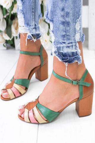 Color Block Chunky High Heeled Peep Toe Date Travel Sandals🔥