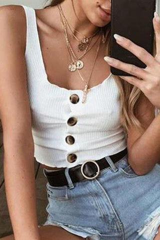 2019 Summer New Fashion Buttoned Vest Top