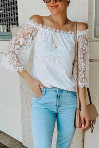 Open Shoulder  Lace  Bell Sleeve Blouses