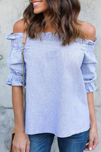 Casual Striped Off-The-Shoulder Blouse