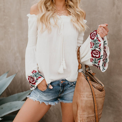 One-Shoulder Embroidered Shirt   Top