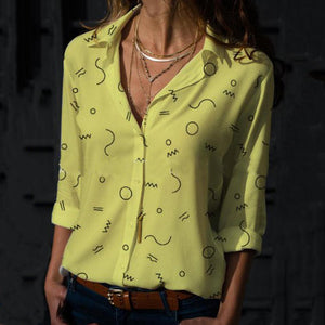Summer Fashion V-Neck Long Sleeve Printed Blouse