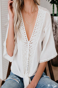 V-Neck Flared Cotton-Trimmed Blouse