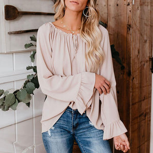 Classy Off The Shoulder Plain Color Tie Bow Shirt