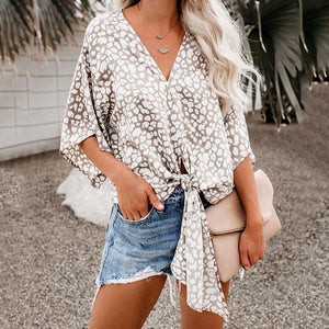V Neck  Lace Up  Print  Batwing Sleeve Blouses
