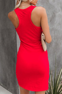 Low Round Neck Solid Color Bodycon Dresses