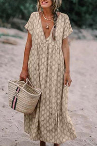 V Neck Printed Empire Line Maxi Dresses