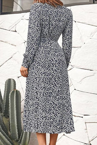 Surplice Long Sleeve High Slit Floral  Maxi Dresses