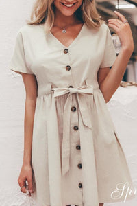 V Neck Single Breasted Bowknot Casual Dresses