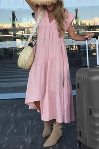 V Neck Plain Asymmetric Hem Maxi Dresses