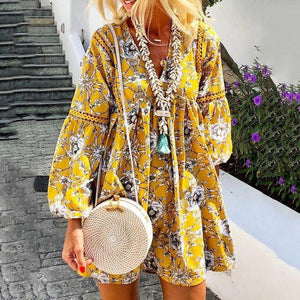 Long Sleeve Printed Stitching Lace Casual Dress