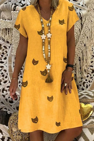 V Neck Animal Printed Casual Dresses