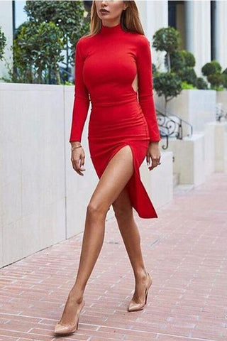 Sexy Split Hem Long Sleeve Bodycon Dress