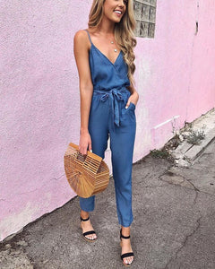Sling Denim Lace Jumpsuit
