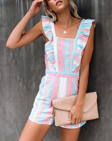 Rainbow Striped Ruffled Sweet Romper