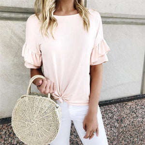Fashion Round Neck Ruffled Short Sleeve Knotted T-Shirt