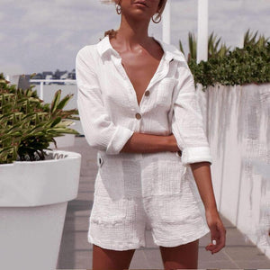 Pocket Button Linen Casual Romper