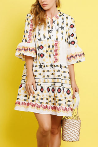 Asymmetric Neck  Printed Casual Dresses