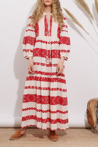 Asymmetric Neck  Printed Maxi Dresses