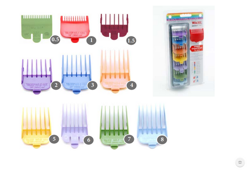 WAHL Snap On Coloured Clipper Attachment Combs
