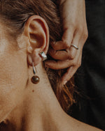 hypoallergenic earring pairs well with a simple stud cuff earring