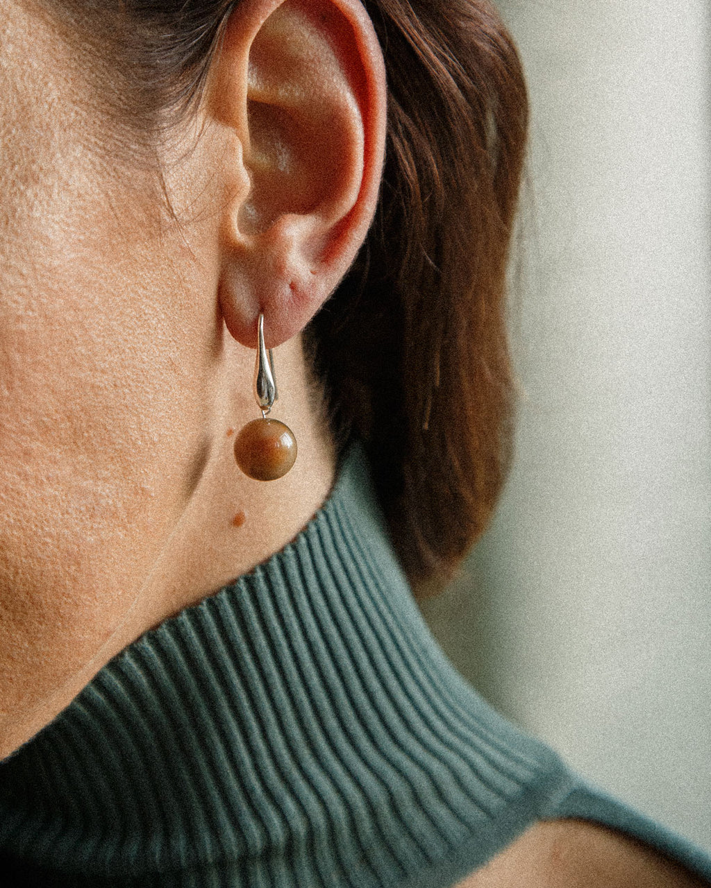 unique brown jade sterling silver earring