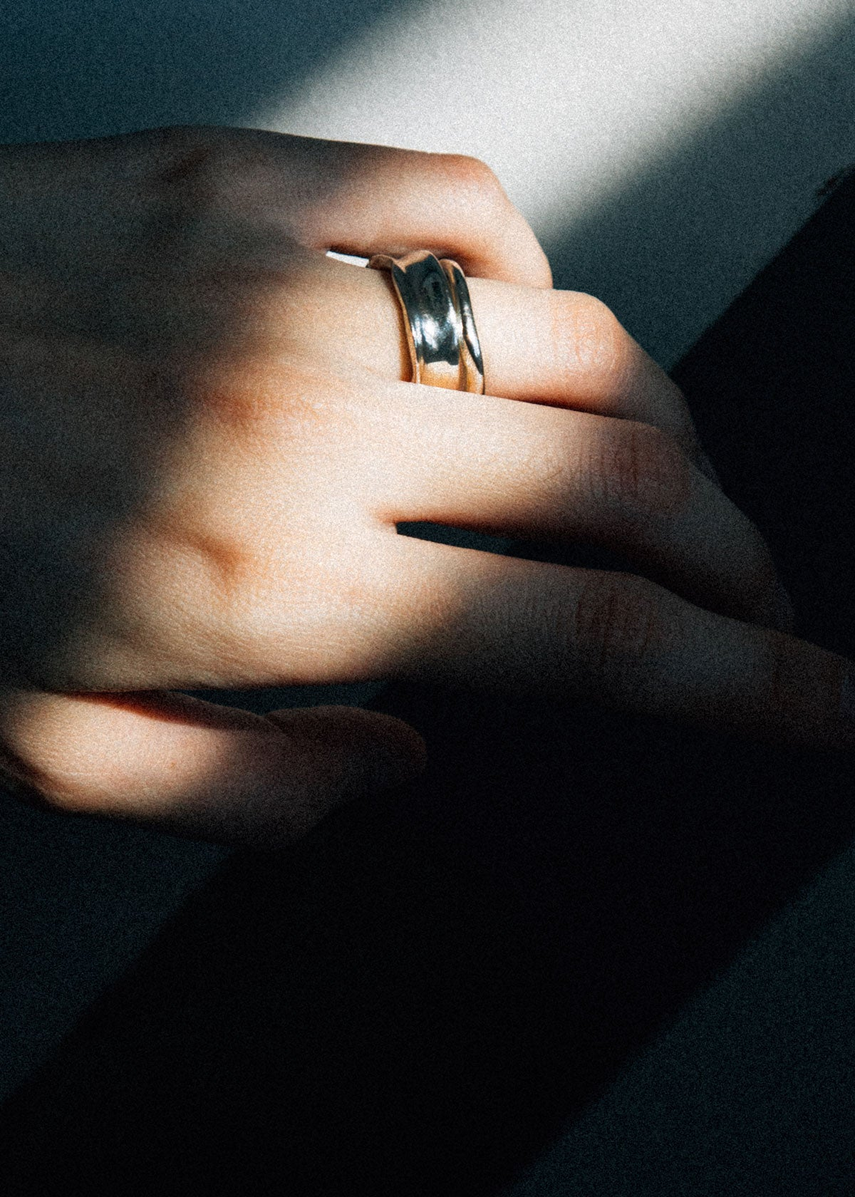 how to stack sterling silver ring with an organic shaped ring