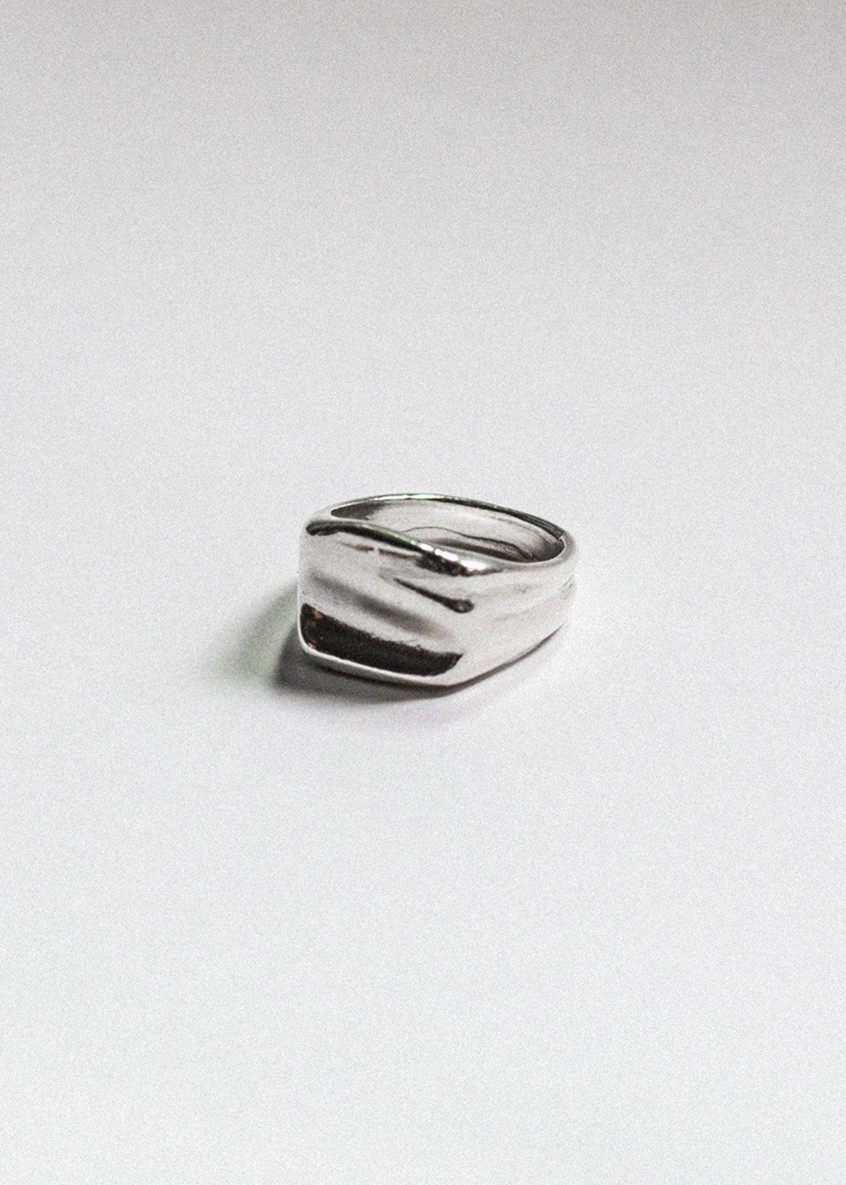 925 sterling silver irregular organic signet ring