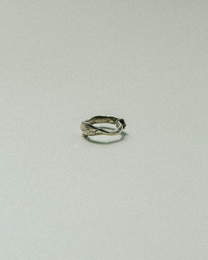 organic rough sterling silver ring