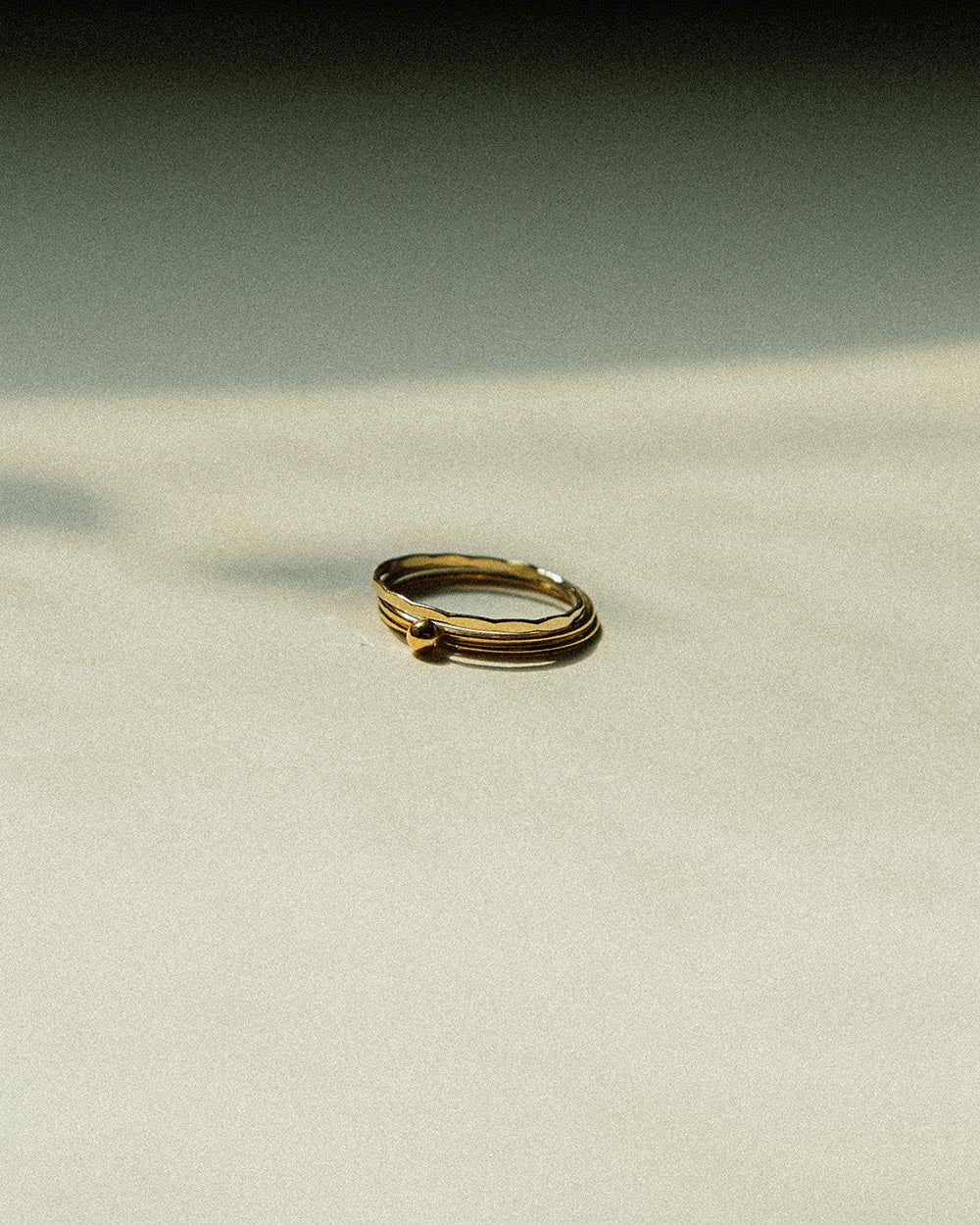 soft and sticky minimalist simple gold filled trio ring set