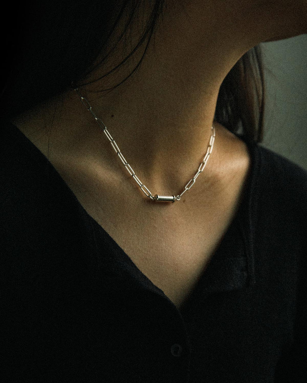 soft and sticky paperclip sterling silver necklace with magnetic clasp closure