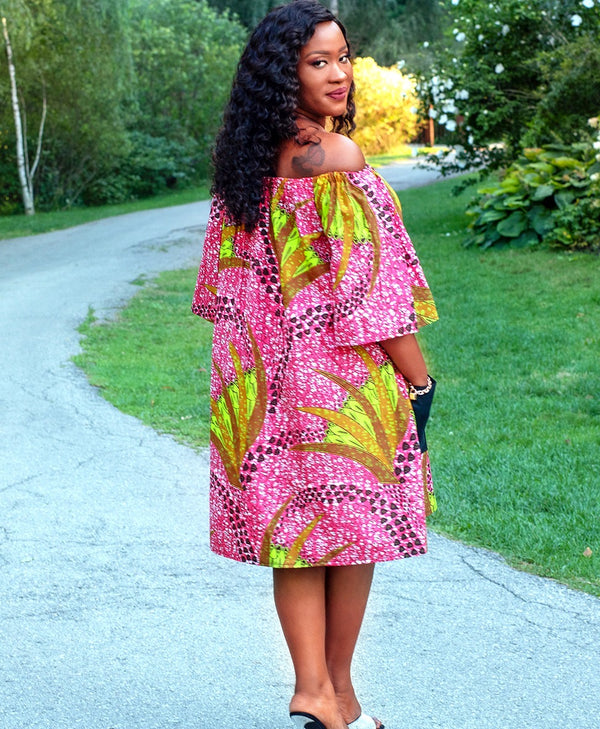 Off Shoulder Summer Dress - EMERAULDE-African Inspired garments-NBLCouture