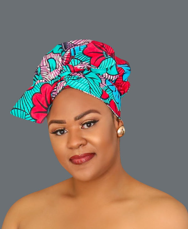 Satin Lined African Print Headwrap CORRIGAN-accesories-NBLCouture