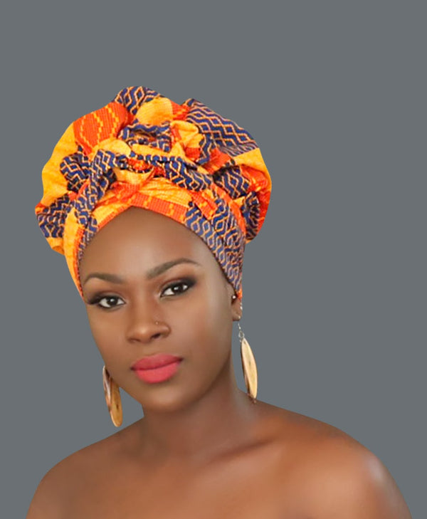 Satin Lined African Print Headwrap FLORENTINE-accesories-NBLCouture