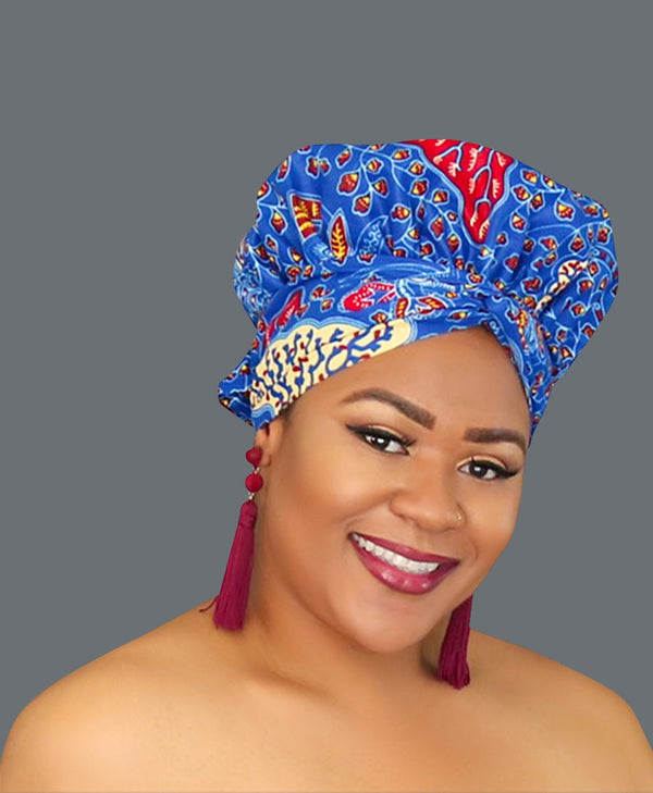Satin Lined African Print Headwrap ADRIANNA-accesories-NBLCouture