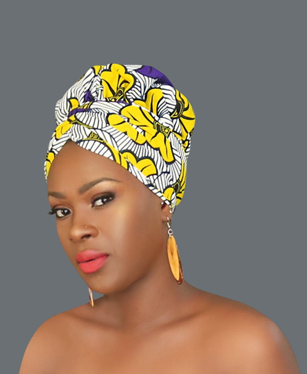 Satin Lined African Print Headwrap SOPHIA-accesories-NBLCouture