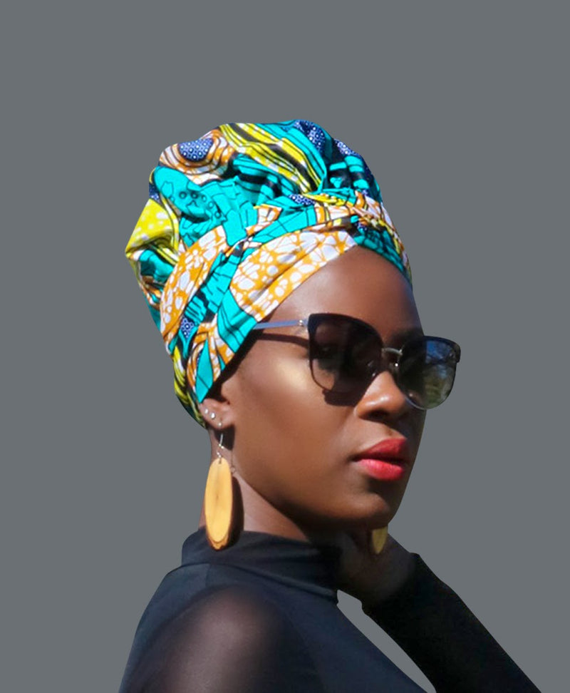 Satin Lined African Print Headwrap EVA-accesories-NBLCouture
