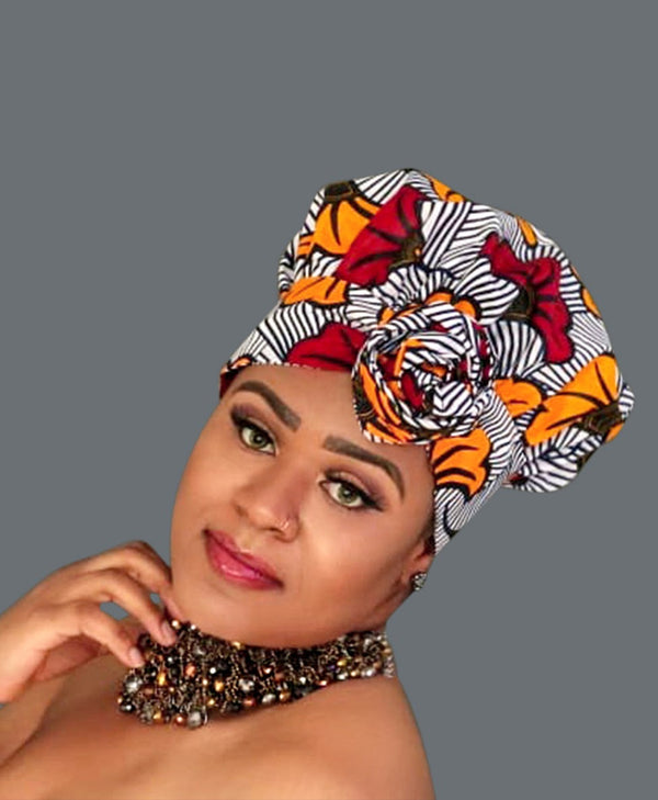 Satin Lined African Print Headwrap CORRIGAN II-accesories-NBLCouture