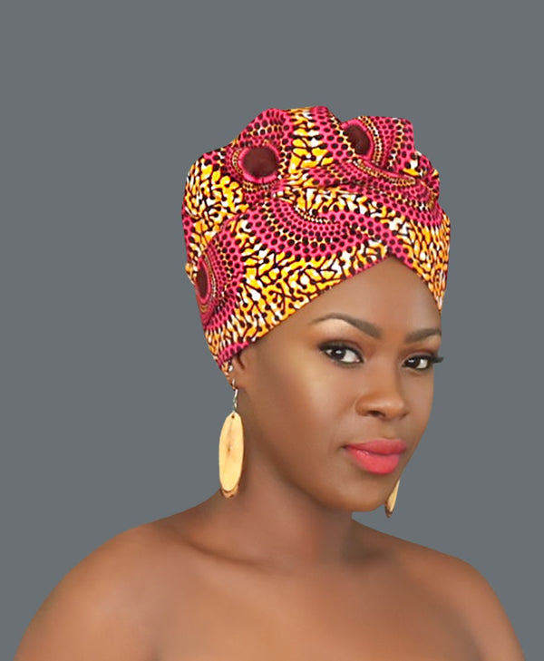 Satin Lined African Print Headwrap FLORA-accesories-NBLCouture