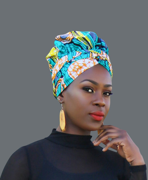 Satin Lined African Print Headwrap - Eva-accesories-NBLCouture